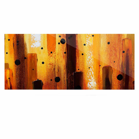 "Steven Dix ""Falling Embers"" Orange Black Painting Luxe Rectangle Panel"