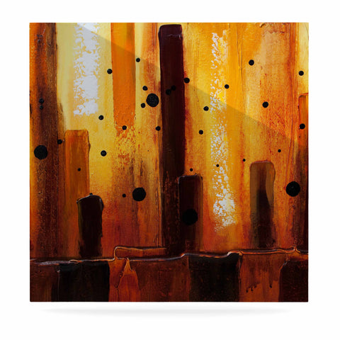 "Steven Dix ""Falling Embers"" Orange Black Painting Luxe Square Panel"