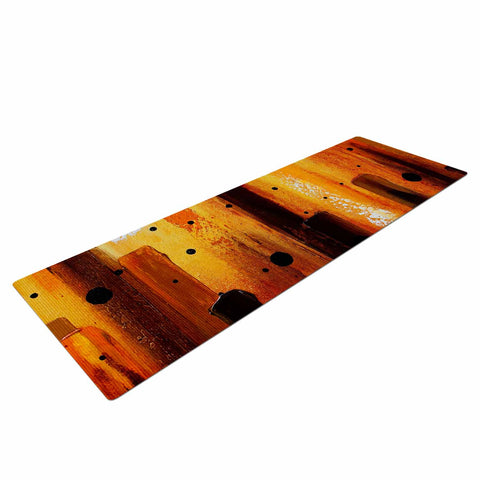 "Steven Dix ""Falling Embers"" Orange Black Painting Yoga Mat"