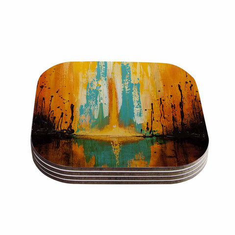 "Steven Dix ""Inception Or Birth"" Teal Orange Coasters (Set of 4)"