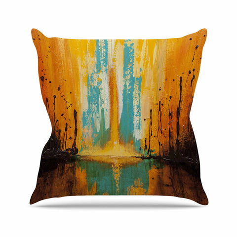"Steven Dix ""Inception Or Birth"" Teal Orange Outdoor Throw Pillow"