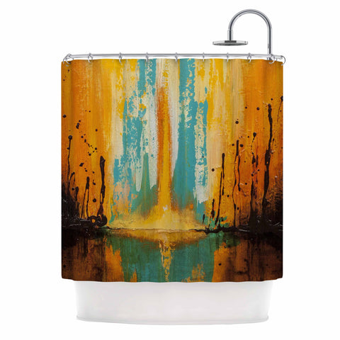 "Steven Dix ""Inception Or Birth"" Teal Orange Shower Curtain"