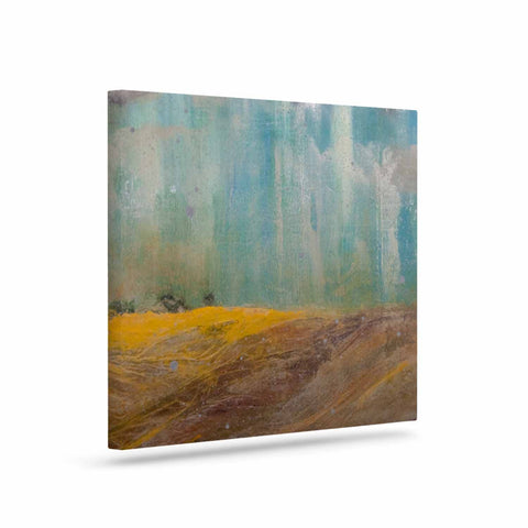"Steven Dix ""Silent Meadow"" Teal Yellow Painting Canvas Art"