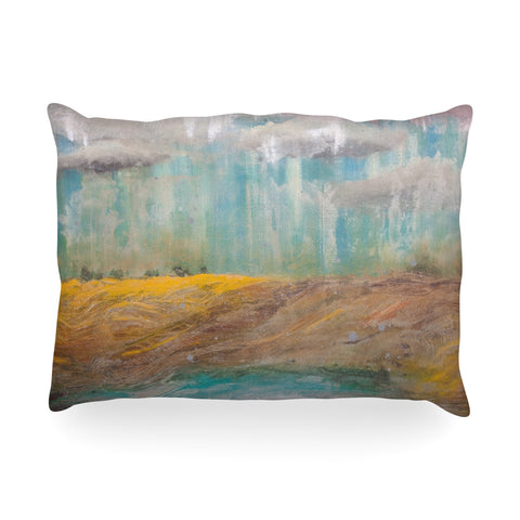 "Steven Dix ""Silent Meadow"" Teal Yellow Painting Oblong Pillow"