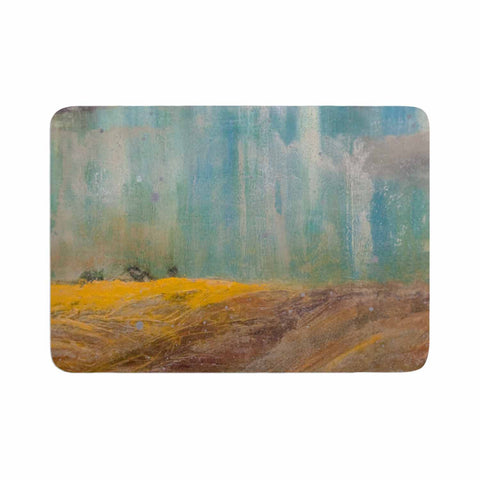 "Steven Dix ""Silent Meadow"" Teal Yellow Painting Memory Foam Bath Mat"