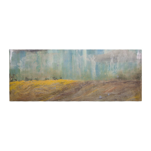 "Steve Dix ""Silent Meadow"" Teal Yellow Painting Bed Runner"