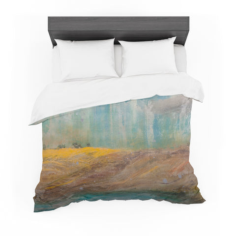 "Steven Dix ""Silent Meadow"" Teal Yellow Painting Featherweight Duvet Cover"