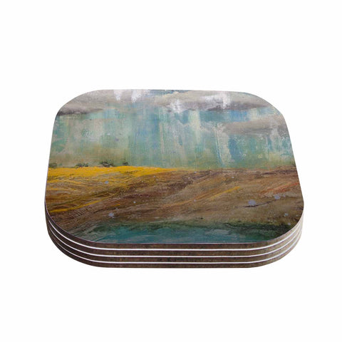 "Steven Dix ""Silent Meadow"" Teal Yellow Painting Coasters (Set of 4)"