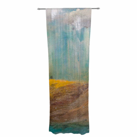 "Steven Dix ""Silent Meadow"" Teal Yellow Painting Decorative Sheer Curtain"