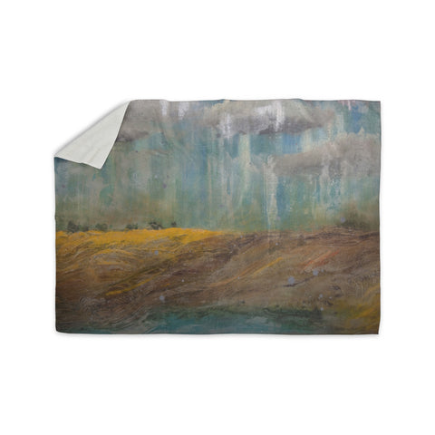 "Steven Dix ""Silent Meadow"" Teal Yellow Painting Sherpa Blanket"
