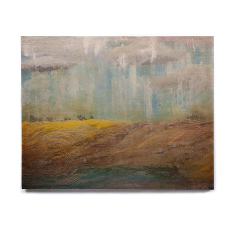 "Steven Dix ""Silent Meadow"" Teal Yellow Painting Birchwood Wall Art"