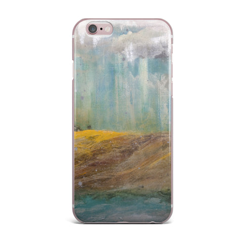 "Steven Dix ""Silent Meadow"" Teal Yellow Painting iPhone Case"