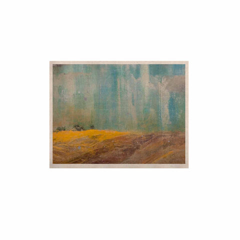 "Steven Dix ""Silent Meadow"" Teal Yellow Painting KESS Naturals Canvas (Frame not Included)"