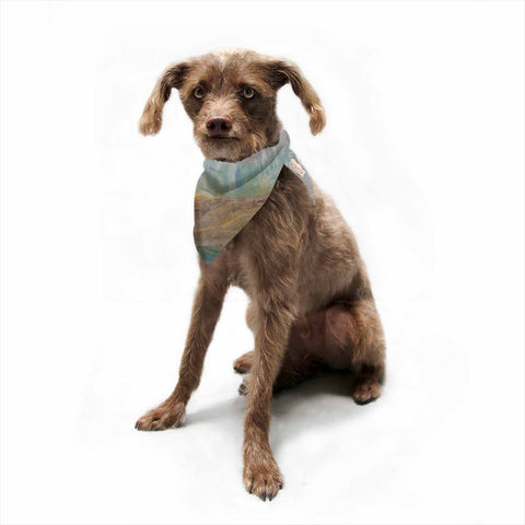 "Steven Dix ""Silent Meadow"" Teal Yellow Painting Pet Bandana"