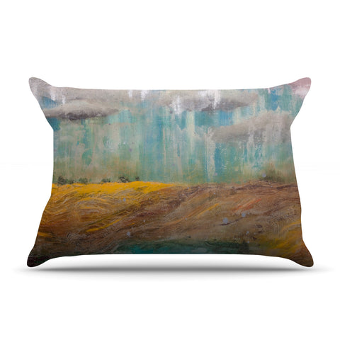 "Steven Dix ""Silent Meadow"" Teal Yellow Painting Pillow Sham"