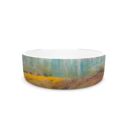"Steven Dix ""Silent Meadow"" Teal Yellow Painting Pet Bowl"