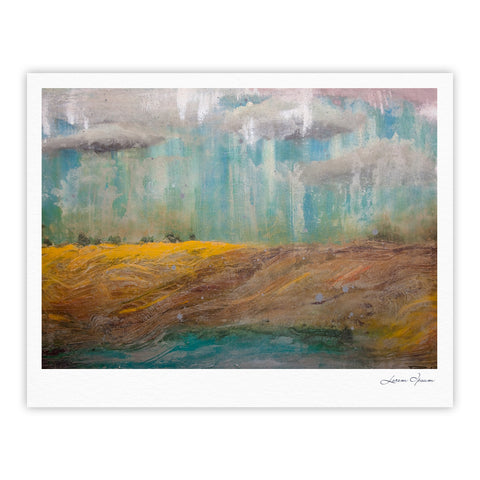 "Steven Dix ""Silent Meadow"" Teal Yellow Painting Fine Art Gallery Print"