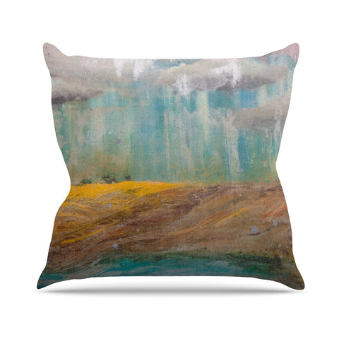 "Steven Dix ""Silent Meadow"" Teal Yellow Painting Outdoor Throw Pillow"