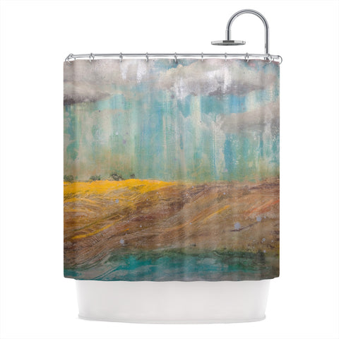 "Steven Dix ""Silent Meadow"" Teal Yellow Painting Shower Curtain"