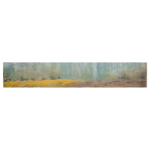 "Steven Dix ""Silent Meadow"" Teal Yellow Painting Table Runner"