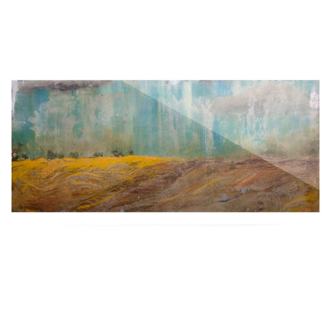 "Steven Dix ""Silent Meadow"" Teal Yellow Painting Luxe Rectangle Panel"