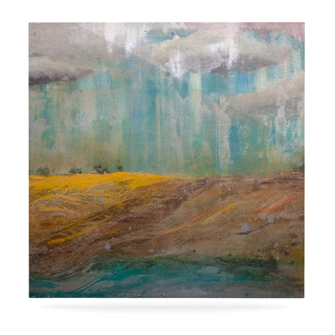 "Steve Dix ""Silent Meadow"" Teal Yellow Painting Luxe Square Panel"