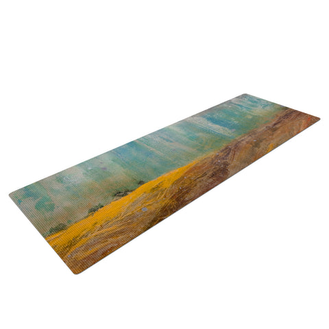 "Steven Dix ""Silent Meadow"" Teal Yellow Painting Yoga Mat"