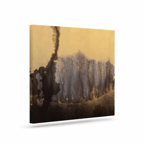 "Steve Dix ""Between The Void"" Gold Black Painting Canvas Art"