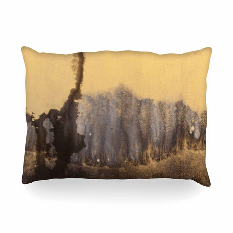 "Steve Dix ""Between The Void"" Gold Black Painting Oblong Pillow"