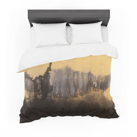 "Steve Dix ""Between The Void"" Gold Black Painting Featherweight Duvet Cover"
