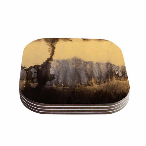 "Steve Dix ""Between The Void"" Gold Black Painting Coasters (Set of 4)"