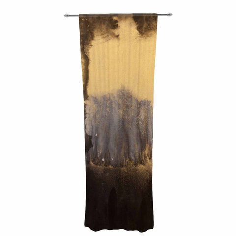 "Steve Dix ""Between The Void"" Gold Black Painting Decorative Sheer Curtain"