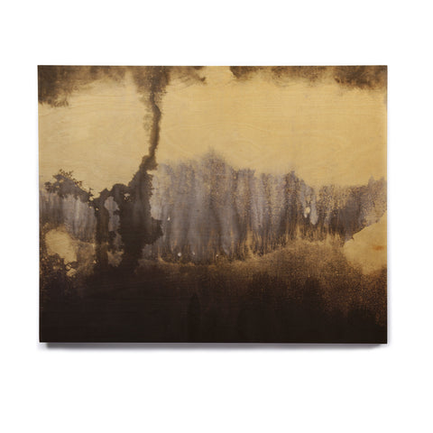 "Steve Dix ""Between The Void"" Gold Black Painting Birchwood Wall Art"