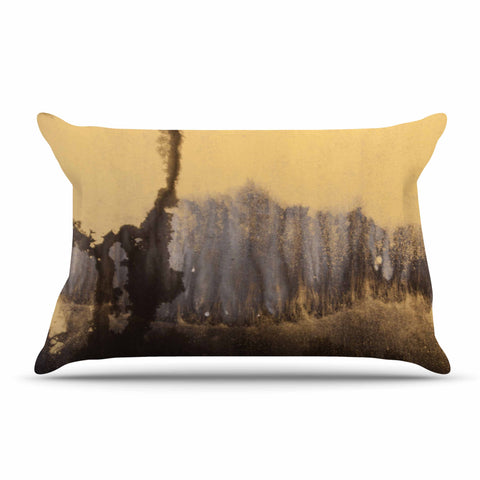"Steve Dix ""Between The Void"" Gold Black Painting Pillow Sham"