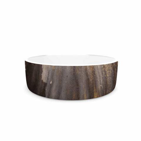 "Steve Dix ""Between The Void"" Gold Black Painting Pet Bowl"