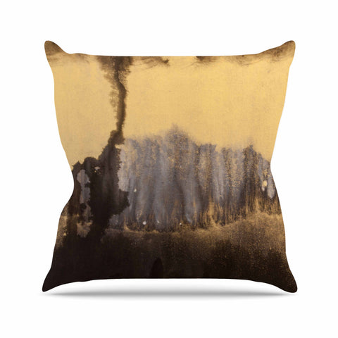"Steve Dix ""Between The Void"" Gold Black Painting Outdoor Throw Pillow"