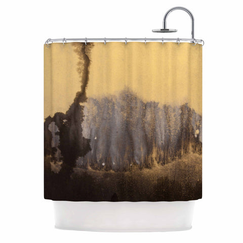 "Steve Dix ""Between The Void"" Gold Black Painting Shower Curtain"