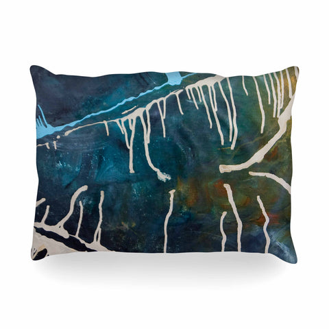 "Steve Dix ""Busan Tonight"" Beige Blue Painting Oblong Pillow"