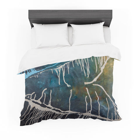 "Steve Dix ""Busan Tonight"" Beige Blue Painting Featherweight Duvet Cover"