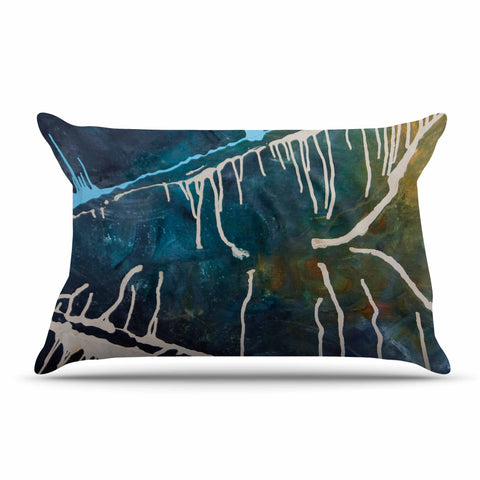 "Steve Dix ""Busan Tonight"" Beige Blue Painting Pillow Sham"