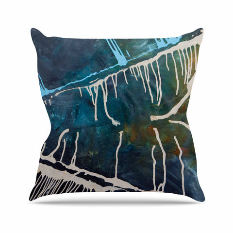 "Steve Dix ""Busan Tonight"" Beige Blue Painting Outdoor Throw Pillow"