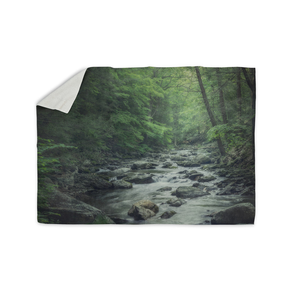 "Suzanne Harford ""Misty Forest Stream"" Nature Photography Sherpa Blanket - KESS InHouse  - 1"