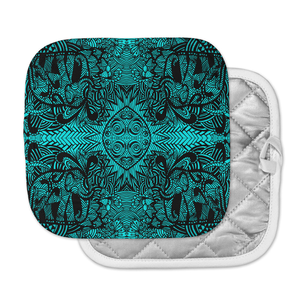 "Shirlei Patricia Muniz ""The Elephant Walk"" Teal Ethnic Pot Holder"
