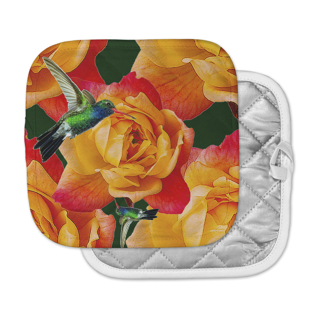 "Shirlei Patricia Muniz ""Roses In Hummingbird"" Orange Nature Pot Holder"