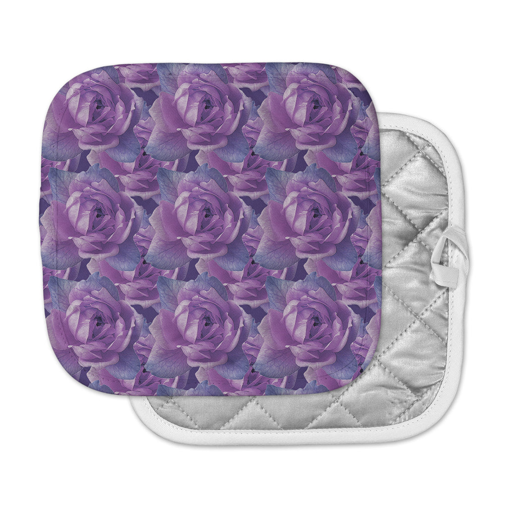 "Shirlei Patricia Muniz ""Roses"" Lavender Floral Pot Holder"