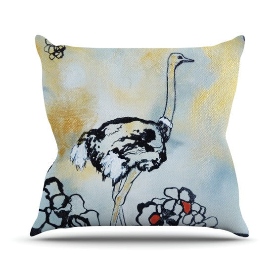 "Sonal Nathwani ""Ostrich"" Outdoor Throw Pillow - KESS InHouse  - 1"