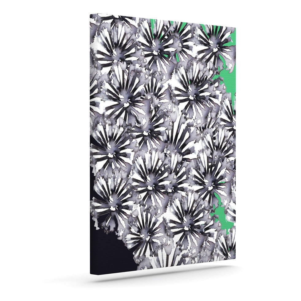 "Sonal Nathwani ""Flowers on Green"" Outdoor Canvas Wall Art - KESS InHouse  - 1"