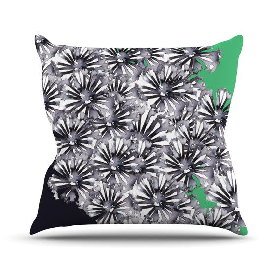 "Sonal Nathwani ""Flowers on Green"" Outdoor Throw Pillow - KESS InHouse  - 1"