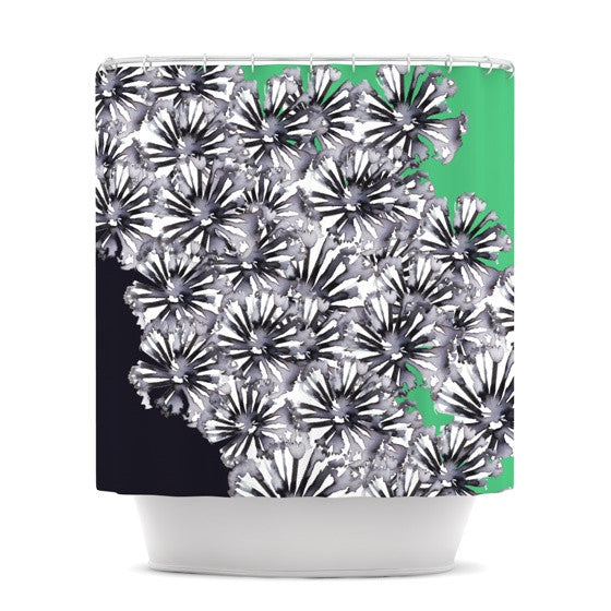 "Sonal Nathwani ""Flowers on Green"" Shower Curtain - KESS InHouse"