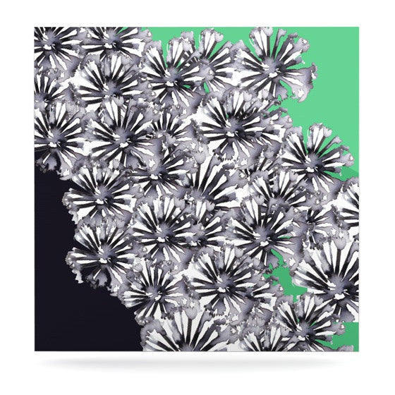 "Sonal Nathwani ""Flowers on Green"" Luxe Square Panel - KESS InHouse  - 1"